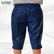 Mens Relaxed Fit Smooth Blue Leather Shorts