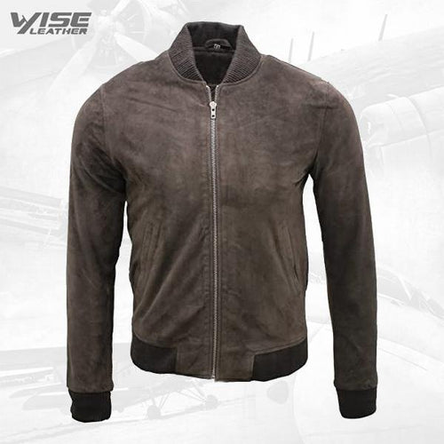 Mens Retro Brown Goat Suede Leather Bomber Varsity Jacket