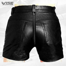 Mens Sexy Real Black Leather Rear Zip Shorts