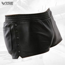 Mens Side Snap Buttons Closure Real Sheepskin Black Leather Shorts