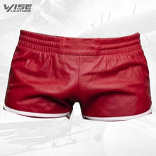Mens Sports Gym Real Sheepskin Red Leather White Strips Shorts
