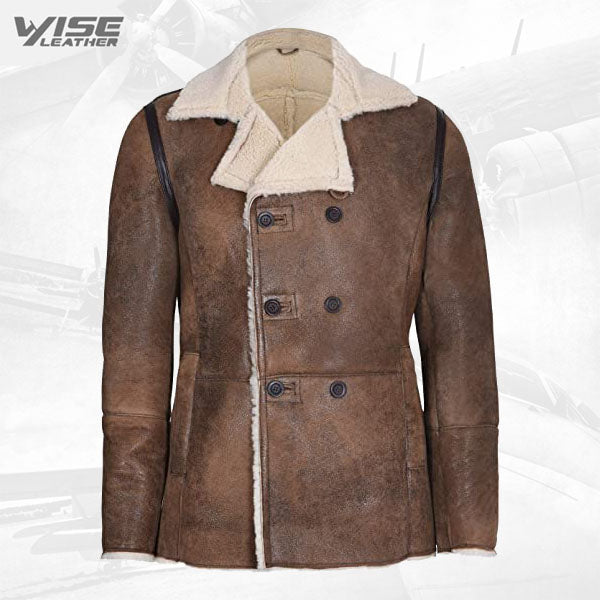 Mens Tan German Double Breasted Real Sheepskin Shearling Leather Jacket Coat