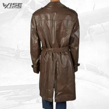 Mens Trendy Real Sheepskin Brown Long Leather Trench Coat