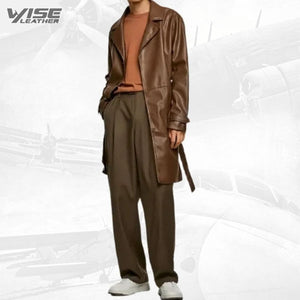 Mens Unique Design Genuine Sheepskin Brown Leather Long Trench Coat