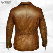 Mens Vintage Biker Style Real Sheepskin Distressed Brown Leather Coat