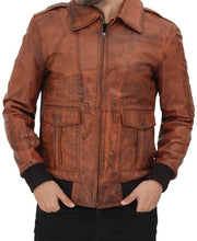 Tan Bomber Distressed Leather Jacket