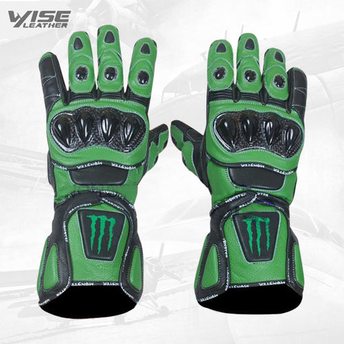 Monster Black and Green Leather Gloves