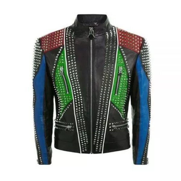 Multi Color Studded Punk Men Leather Jacket With Four Front
