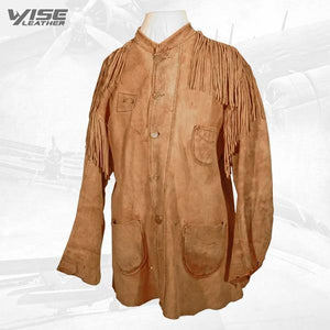Native American Brown Buckskin Suede Leather Fringes Shirt - Wiseleather