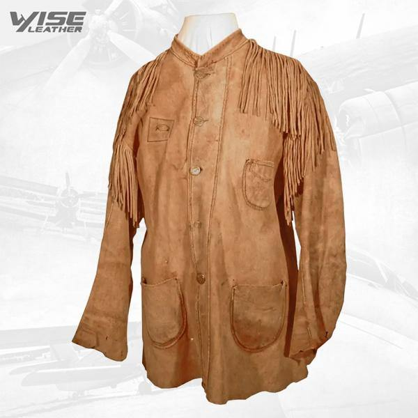 Native American Brown Buckskin Suede Leather Fringes Shirt