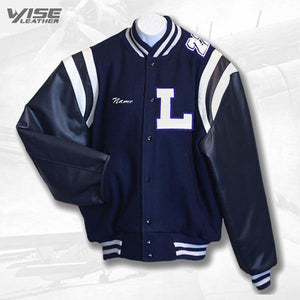 LAMPHERE MALE VARSITY JACKET - NAVY SLEEVES - Wiseleather