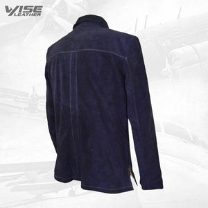 Neive's Blue Suede Leather Shirt - Wiseleather