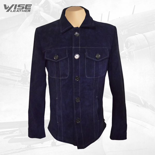 Neive's Blue Suede Leather Shirt