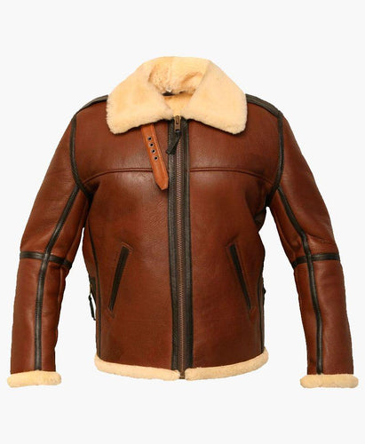 NEW MEN'S DISTRESSES FLIGHT LEATHER JACKET WITH FUR