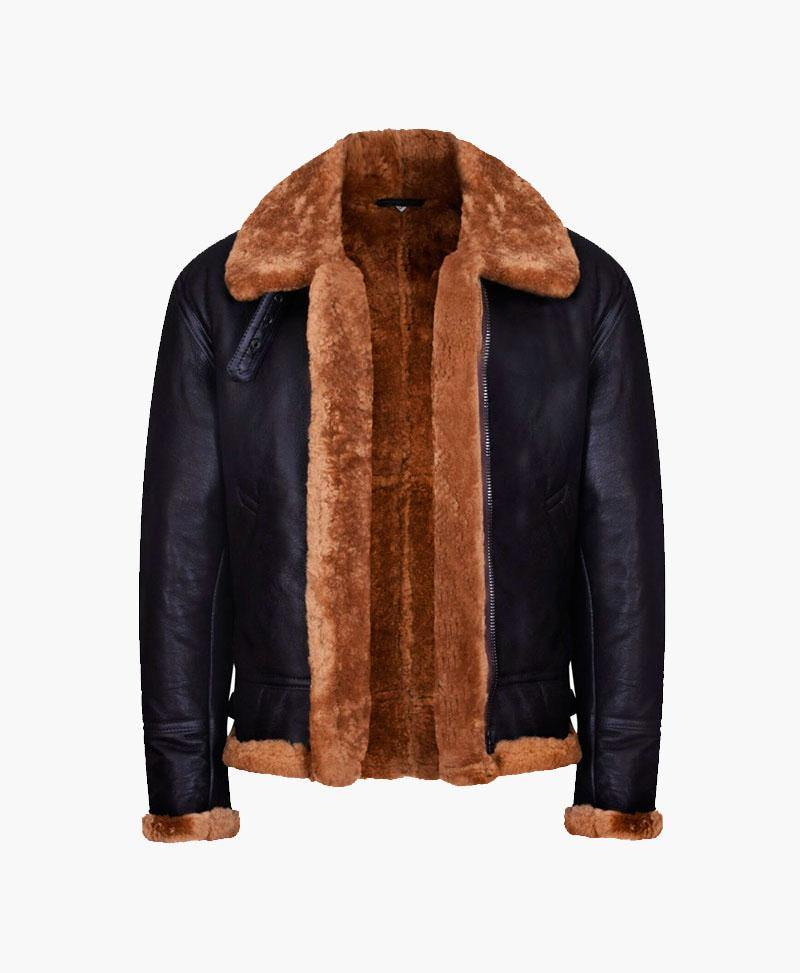 NEW MENS AVIATOR BOMBER LEATHER JACKET WITH FUR