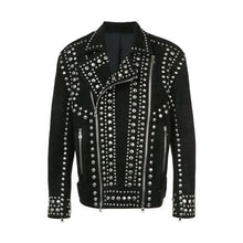 New Men's Handmade Black Full Silver Studded Top Quality Leather Jacket