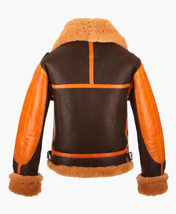 NEW STYLE TWO TONE MENS BOMBER LEATHER JACKET WITH FUR - Wiseleather