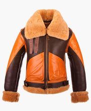 NEW STYLE TWO TONE MENS BOMBER LEATHER JACKET WITH FUR