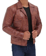 Distressed Lambskin Brown Leather Jacket