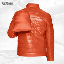 Orange Men's Leather Packable Down Filled Puffer Jacket
