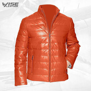 Orange Men's Leather Packable Down Filled Puffer Jacket - Wiseleather