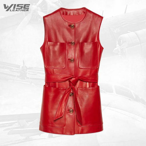 Plonge Leather Long Vest In Red