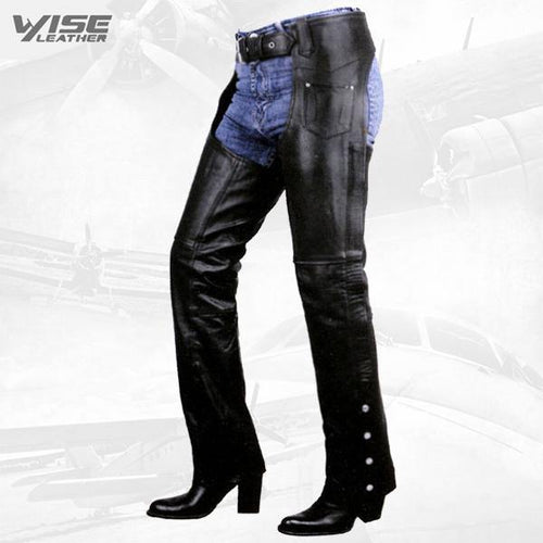 Premium Leather Womens Low Cut Motorcycle Chaps