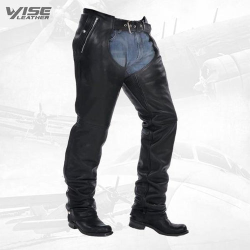 Premium Naked leather Motorcycle biker Chaps plus Zip out Insulated lining