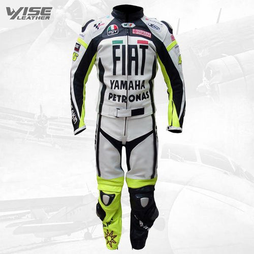 RETRO FIAT YAMAHA ROSSI REPLICA BIKER LEATHER SUIT