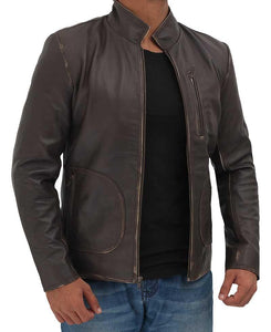 Distressed Brown Dwayne Johnson Rampage Leather Jacket - Wiseleather