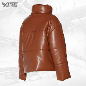 Real Leather Puffer Jacket For Mens