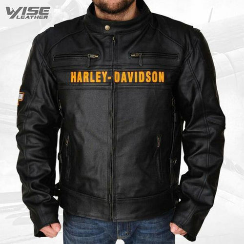 Real Leather Harley Davidson Black Motorcycle Biker Genuine Vented Jacket