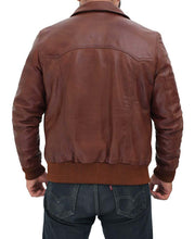 Steven Brown Leather Bomber Jacket Mens