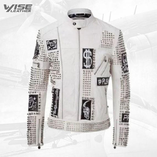 White Studded Punk Men Leather Jacket With Motorbike Style