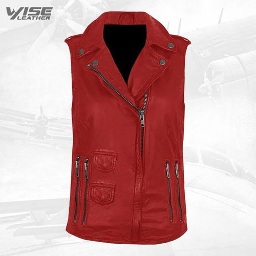 Red Genuine Leather Biker Vest
