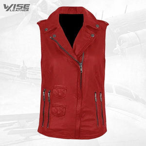 Red Genuine Leather Biker Vest - Wiseleather