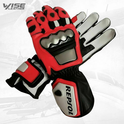 Repsol Motorbike Racing Leather Protective Gloves Racing Gloves