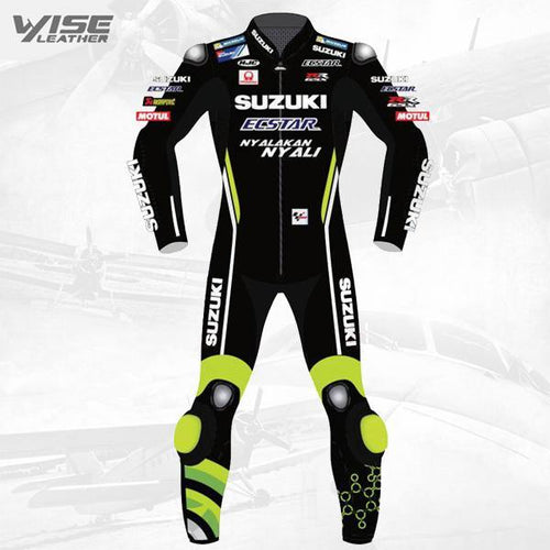 SUZUKI ECSTAR BLACK MOTOGP BIKER RACE LEATHER SUIT