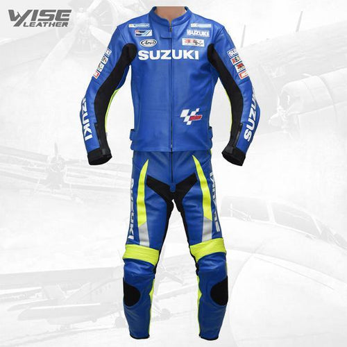 SUZUKI ECSTAR BLUE MOTOGP RACE REPLICA LEATHER MOTORCYCLE SUIT