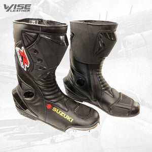 SUZUKI GSXR MOTOGP LEATHER BOOTS MOTORBIKE MOTORCYCLE LEATHER BOOTS BIKERS BOOTS