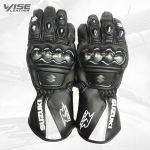 SUZUKI Motorbike Leather Racing Gloves Black White Motorcycle Riders Gloves