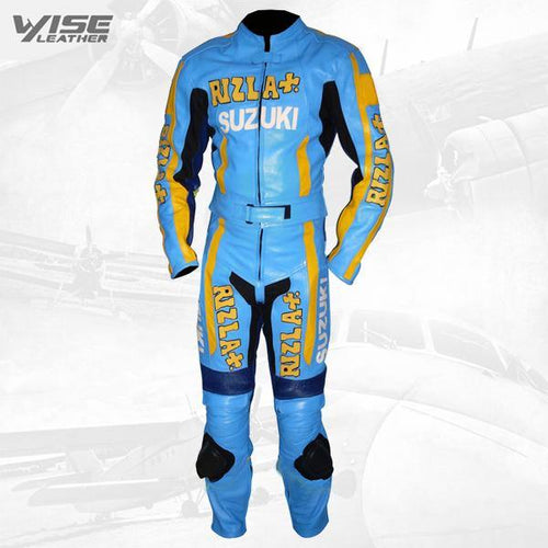 SUZUKI RIZLA BLUE REPLICA MOTORCYCLE LEATHER SUIT
