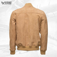 Sandy Beige Suede Bomber Leather Jacket With Ribbed Cuffs