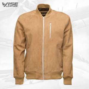 Sandy Beige Suede Bomber Leather Jacket With Ribbed Cuffs - Wiseleather