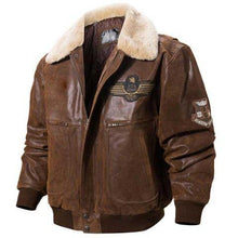 Mens Brown Leather Shearling Collar Bomber Jacket
