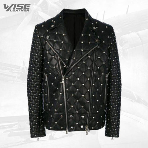 Studded Punk Men Leather Jacket With Front Zip Fastening
