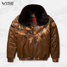 Stylish Color Brown V-Bomber Leather Jacket For Men