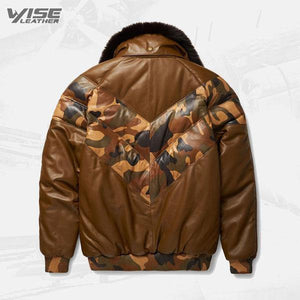 Stylish Color Brown V-Bomber Leather Jacket For Men - Wiseleather
