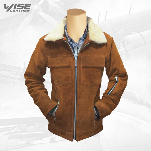 Suede Bomber Leather Jacket With Fur Collar