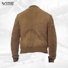 Suede Leather Bomber Jacket With Ribbed Collar